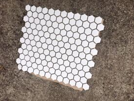"Ceramic small mosaic tiles hexagon 11 sheets and each sheet 13"" x 11.5"""