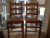 Ladderback Rush Seats Oak Dining Chairs.