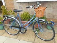 Vintage RALEIGH Caprice Ladies Bike, 21 Inch Frame, 26 Inch Wheels, 3 Speed, Wicker Basket V.G.C
