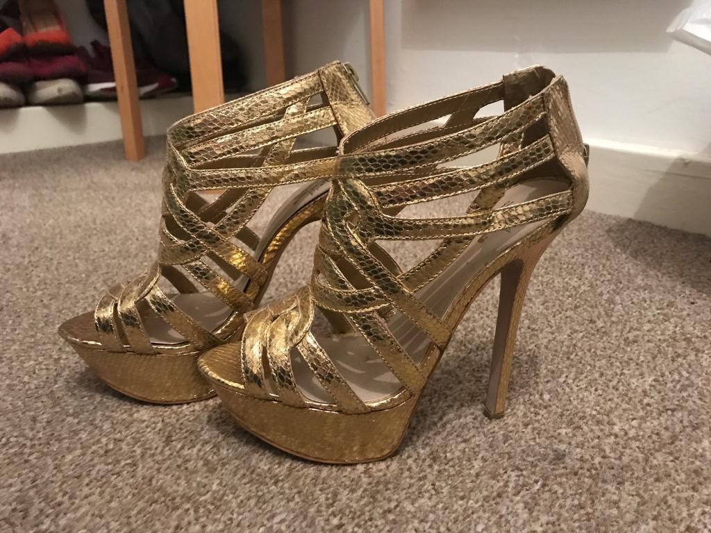 Ladies Gold Kurt Geiger Heels Size 4