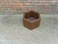 NEW HANDMADE WOODEN HEXAGONAL PLANTER