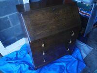 Vintage Solid oak bureau / writing desk