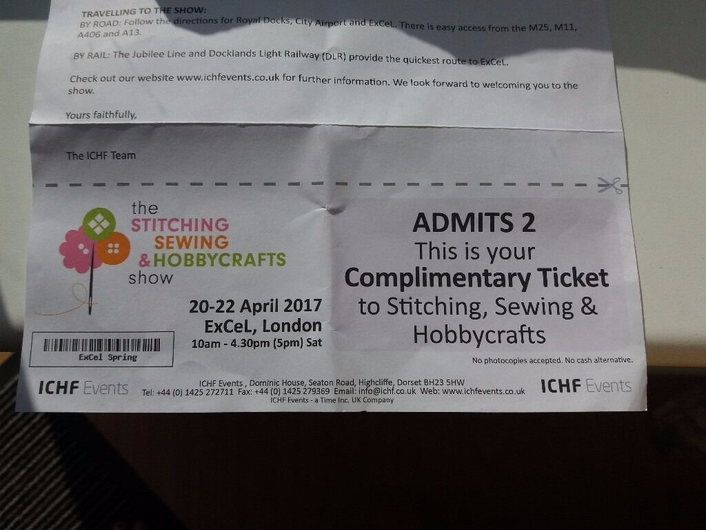 free 2 tickets to the stitching sewing and hobbycrafts show at excel