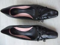M&S black court shoes