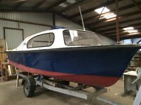 17' diesel day boat grp hull and decks
