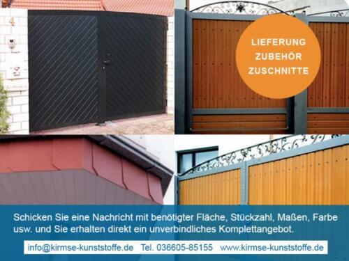 Paneele aus Kunststoff für Tore & Fassadenverkleidung, Holztoptik in ...
