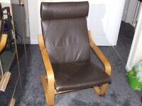 Ikea Poang Chair in Brown Leather Excellent Condition