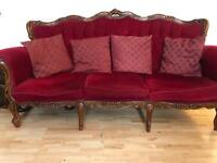 Italian carved sofa/ chairs and dining table (with chairs)