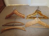 30 ASSORTED WOODEN CLOTHES HANGERS VINTAGE & MODERN including 8 IKEA COLLECT BENFLEET