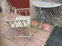 Half moon table & chair