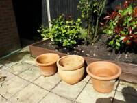 3 LARGE Terracotta pots