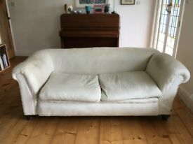 Original Chesterfield sofa, antique, Victorian with reclining arm