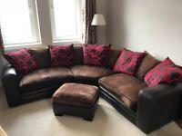 Brown Scatter Back Corner Sofa