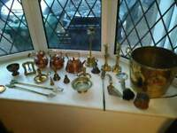 Large selection of brass/copper items