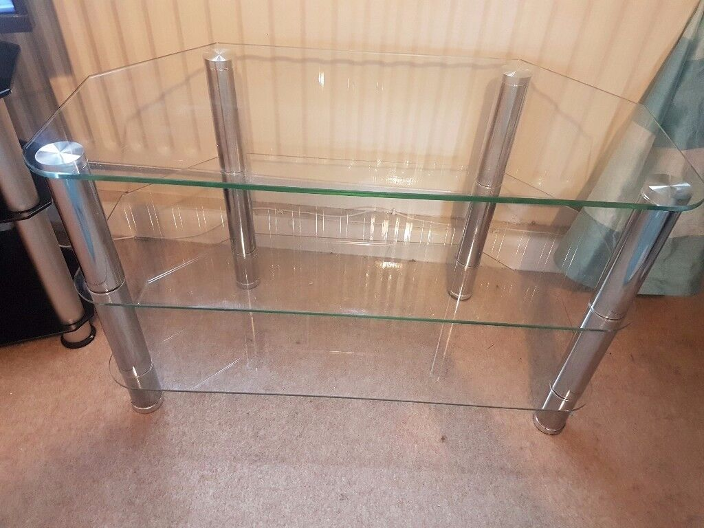 Clear and chrome glass tv unit
