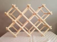 Freestanding 10 Bottle Folding Wine Rack Hard Wood Pack!