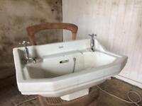 Shanks Art Deco bathroom sink and chrome taps