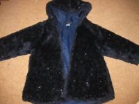 Navy blue GIRLS SPARKLY FURRY COAT - fully lined IMMACULATE & BEAUTIFUL age 3-4