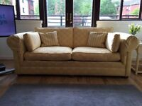 2 x 3 Seater Sofas For Sale - Excellent Condition - Yellow, Cream & Pale Grey Pattern