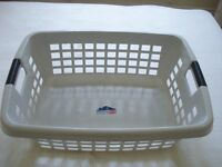 GREY PLASTIC LAUNDRY BASKET WITH BLACK HANDLES *LARGE* good condition (collect Chelsea SW10)