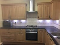 Complete kitchen units for sale with gas cooker, electric oven and free standing washing machine