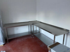 4 x Brand New Never Used Stainless Steel Catering Tables Various Sizes with Splashback