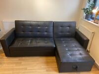 3 Seater L Shaped Sofa Bed with storage and ottoman