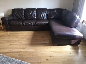 Corner sofa + matching 2 seater - Brown Leather