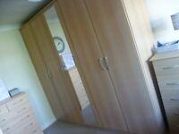 GERMAN BEECH BEDROOM 5 DOOR MIRROR FREE STANDING WARDROBE