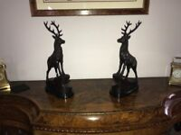 Pair of bronze stags