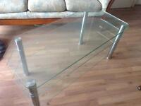 Thick glass television stand.