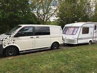 Vw T5 6 seater 1.9tdi alloys extra windows camper day van