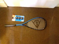 Squash racquet with cover and three balls