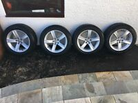 Set of 4 Alloy 7.5Jx17 Wheels for Audi A4 complete with good Winter tyres 225/55/17