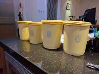 Classic Tuperware sunshine storage containers