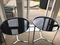 2 stainless steel black glass tables 1 for £35 or 2 for £60