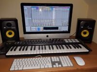 Music production set up with Imac, Rokit 5 speakers, m-audio midi keyboard and ableton live 9 suite