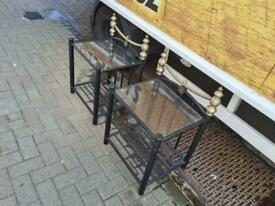 2 black metal and glass occasional tables £39 the pair
