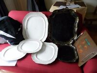 Job lot of antique trays (two from 1830's) and chargers (or serving plates) from 1845
