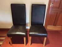 4 Premium Dark Brown Leather Dining Chairs
