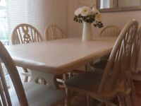 ** PRIORY DINING TABLE WITH 6 WHEEL BACK CHAIRS - BEAUTIFULLY RESTORED IN SHABBY CHIC STYLE **