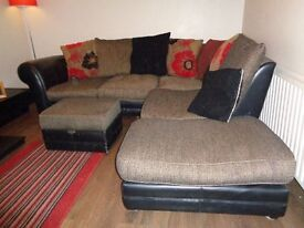 Corner Suite - Black Leather and Fabric, includes footstool and recliner chair