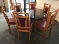 Dining Table 6 Leather Chairs Good Condition Delivery Possible