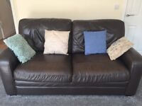 Very Large 3 Seater Brown Leather Sofa With Scatter Cushions