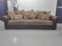 Leather Fabric 4 Seater Brown And Dark Green Sofa Settee In Very Good Condition