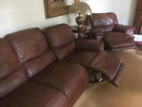 John Lewis Calf Leather 3 piece suite including Two Electric Recliners.