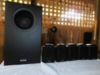 TANNOY 5.1 ACTIVE SUBWOOFER +5 SMALL SPEAKERS MINT CONDITION . for sale  Norwich, Norfolk