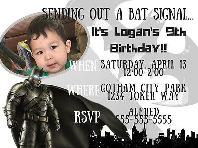 Batman, Dawn Of Justice, Photo JPEG/PDF Digital Birthday Invitation](Batman Photo Invitations)