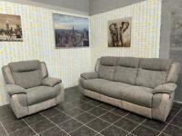 Dfs grey 3 seater recliner sofa with recliner armchair