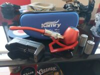 Perfect gift for Fathers Day. Ecigarette Pipe in various colors. Complete with case and stand.